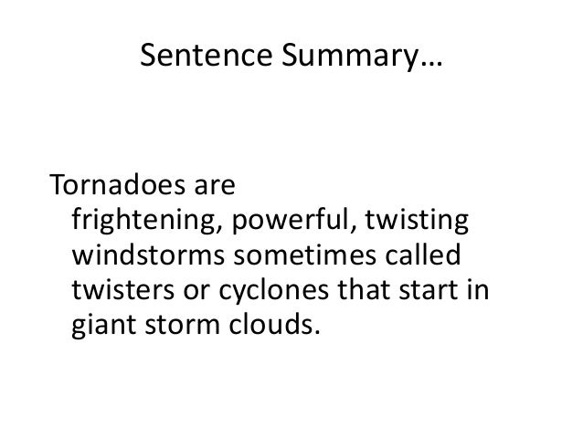 Tornadoes thesis statement