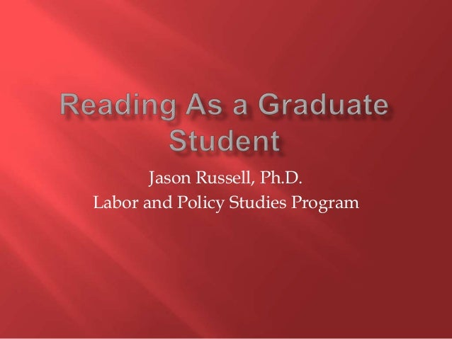 Jason Russell, Ph.D. Labor and Policy Studies Program