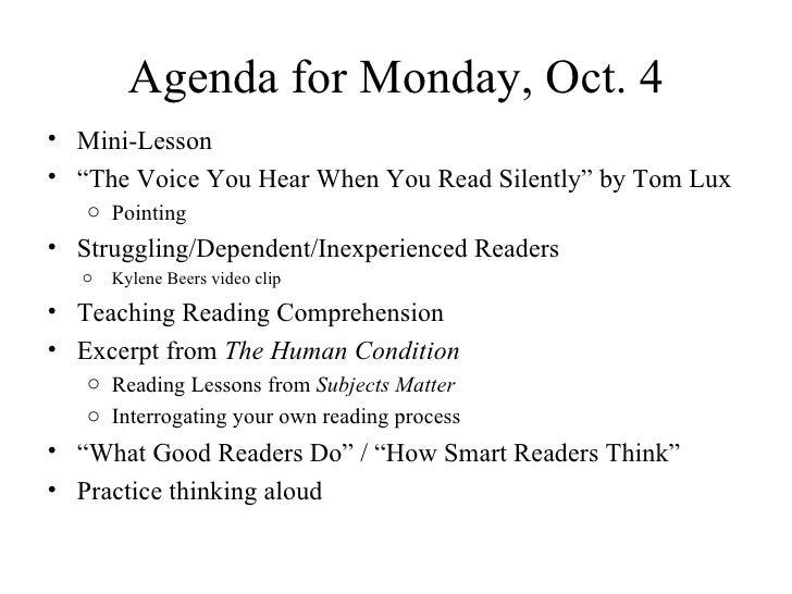 "Agenda for Monday, Oct. 5 <ul><li>Mini-Lesson </li></ul><ul><li>Pointing: ""The Voice You Hear When You Read Silently"" by T..."