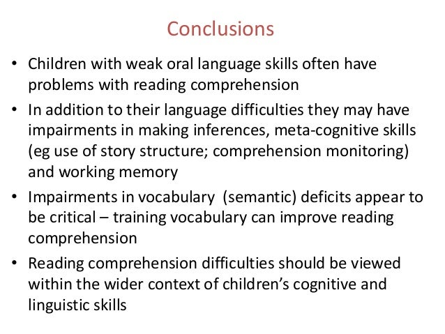 the difficulties in reading comprehension of Memory deficits contributed comprehension problems reading comprehension deficits in an understanding of reading comprehension difficulties in students with.
