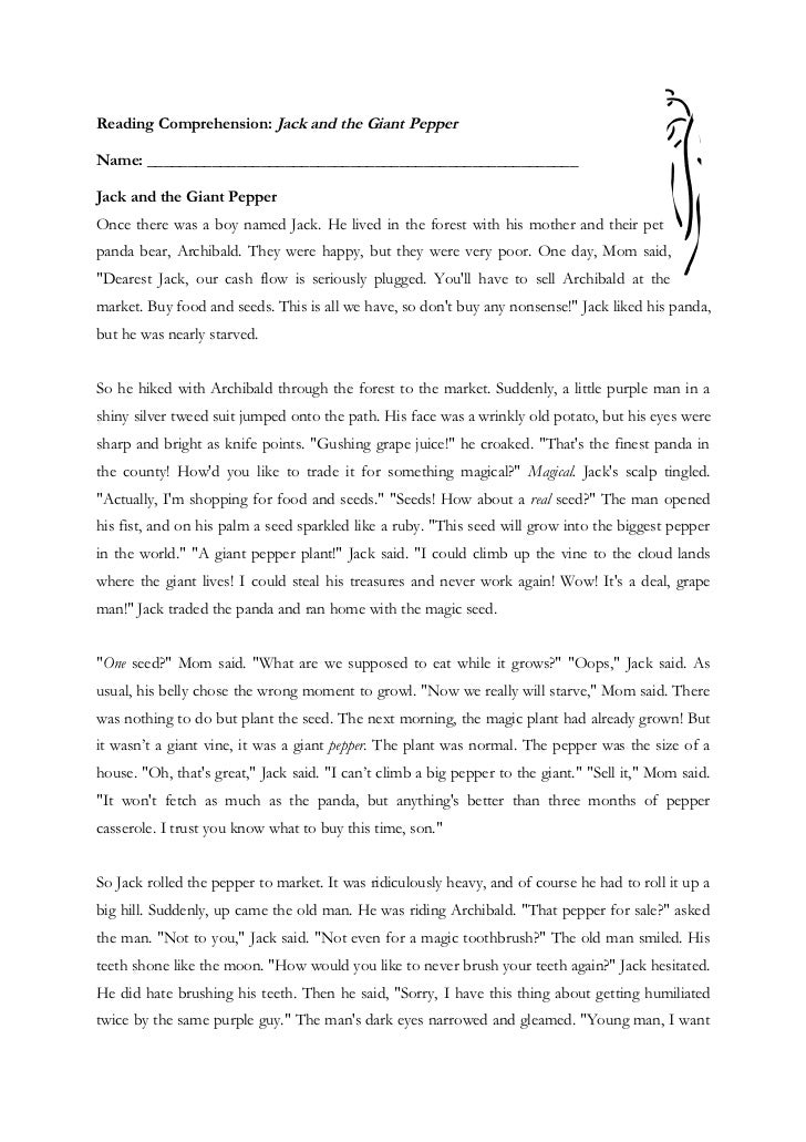 Reading Comprehension: Jack and the Giant PepperName: _____________________________________________________Jack and the Gi...