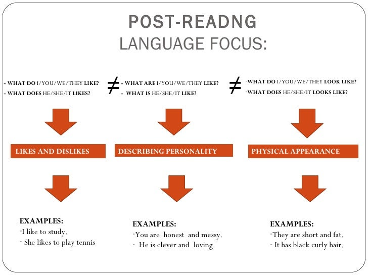POST-READNG                                  LANGUAGE FOCUS:- WHAT DO I/YOU/WE/THEY LIKE?     - WHAT ARE I/YOU/WE/THEY LIK...