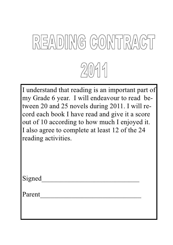 I understand that reading is an important part ofmy Grade 6 year. I will endeavour to read be-tween 20 and 25 novels durin...