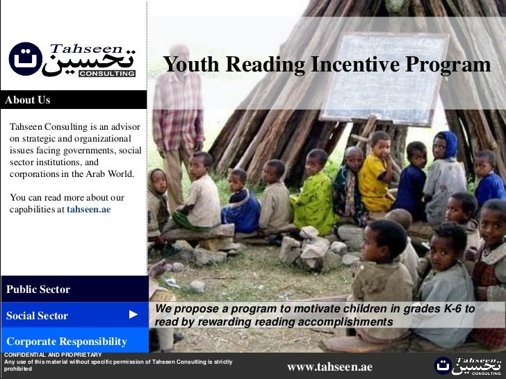 Youth Reading Incentive ProgramAbout Us  Tahseen Consulting is an advisor  on strategic and organizational  issues facing ...