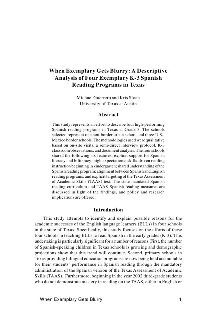 When Exemplary Gets Blurry: A Descriptive          Analysis of Four Exemplary K-3 Spanish                Reading Programs ...