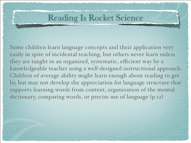 teaching reading is rocket science essay Reading and literature you'll find useful cross-curricular resources that connect reading with science, social studies our teaching guide for fly.