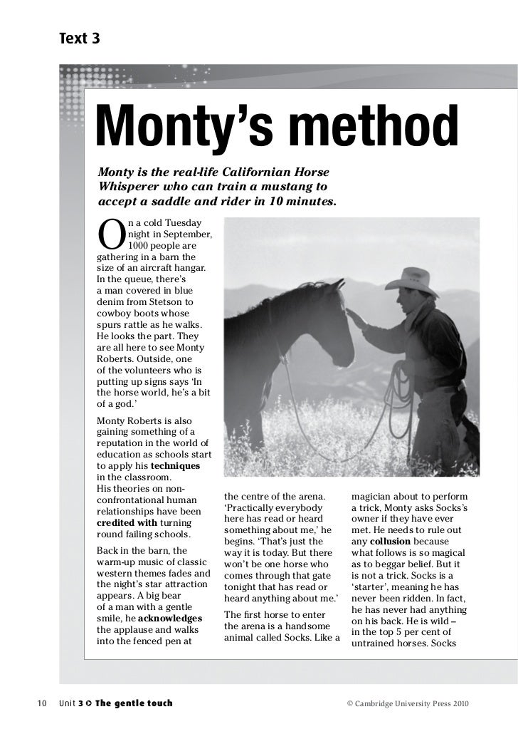 Text 3              Monty's method              Monty is the real-life Californian Horse              Whisperer who can tr...