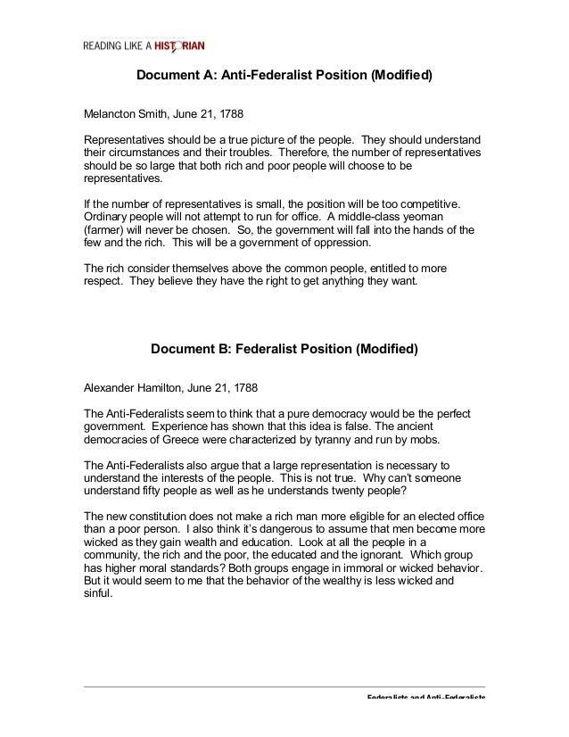 Reading like a historian federalists vs antifederalists