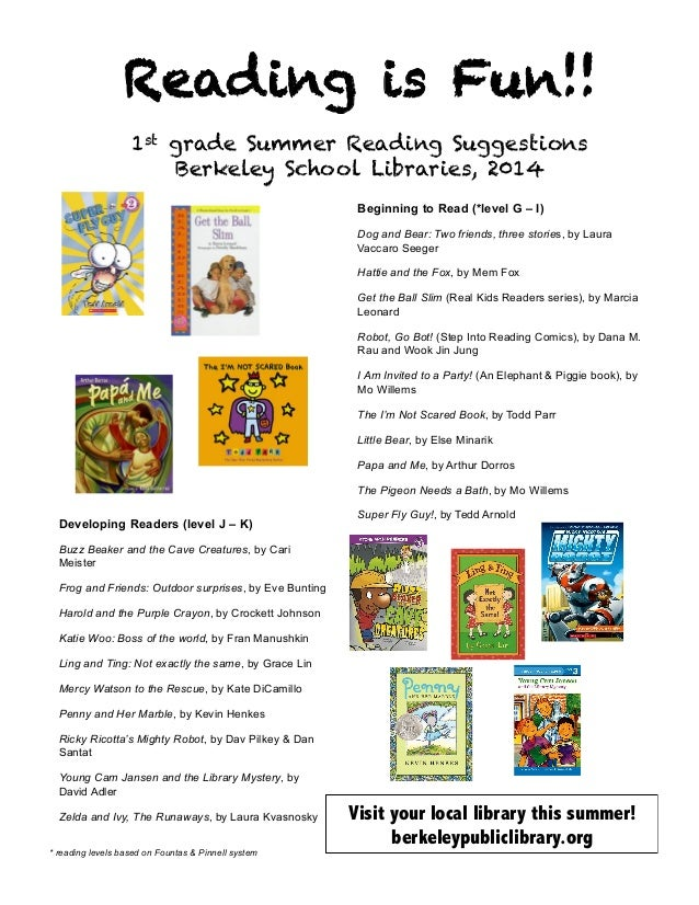 Reading is Fun!! 1st grade Summer Reading Suggestions Berkeley School Libraries, 2014 	    Beginning to Read (*level G – I...