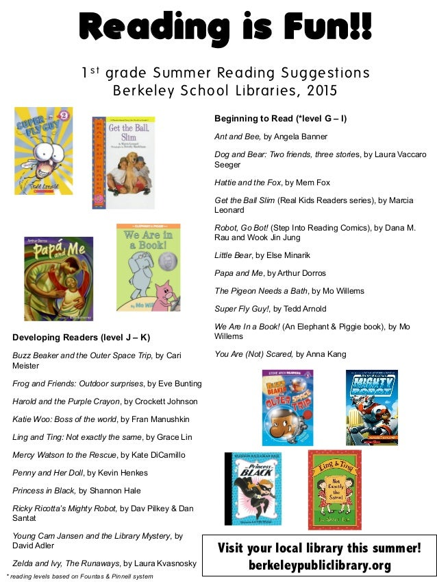 Reading is Fun!! 1s t grade Summer Reading Suggestions Berkeley School Libraries, 2015 	    Beginning to Read (*level G – ...