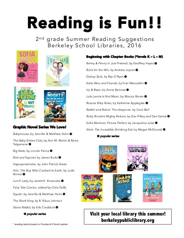 Reading is Fun!! 2n d grade Summer Reading Suggestions Berkeley School Libraries, 2016  Beginning with Chapter Books (*le...