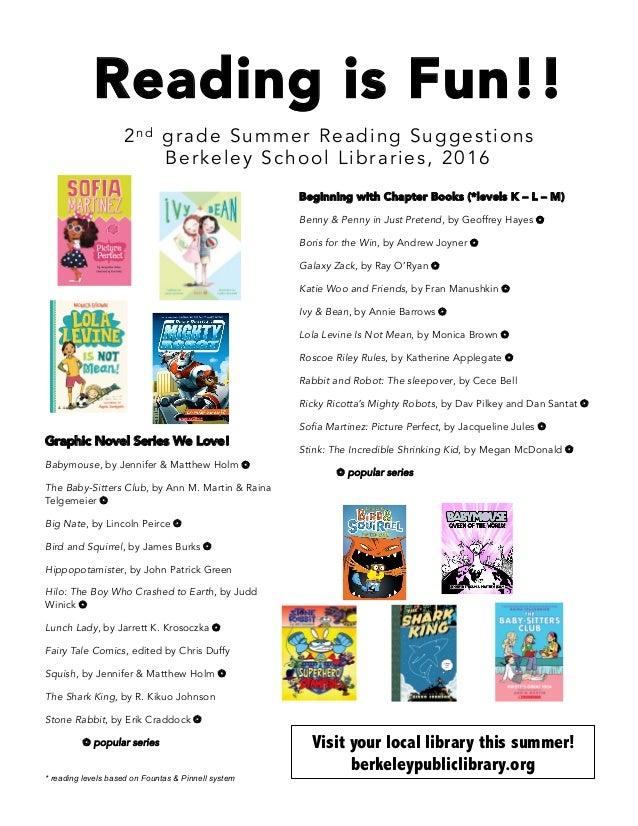 Summer Reading List 2nd Grade 2016