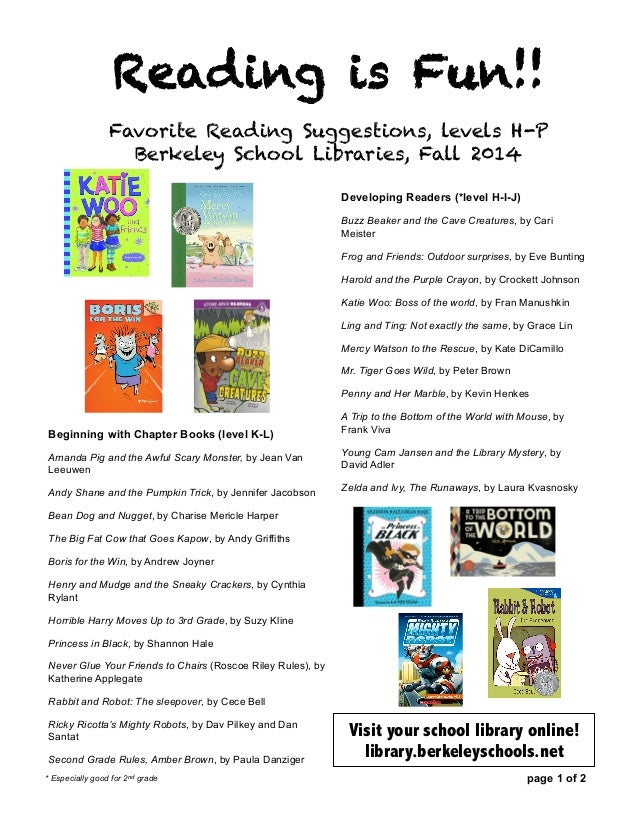 2nd Grade Reading Recommendations Fall 2014
