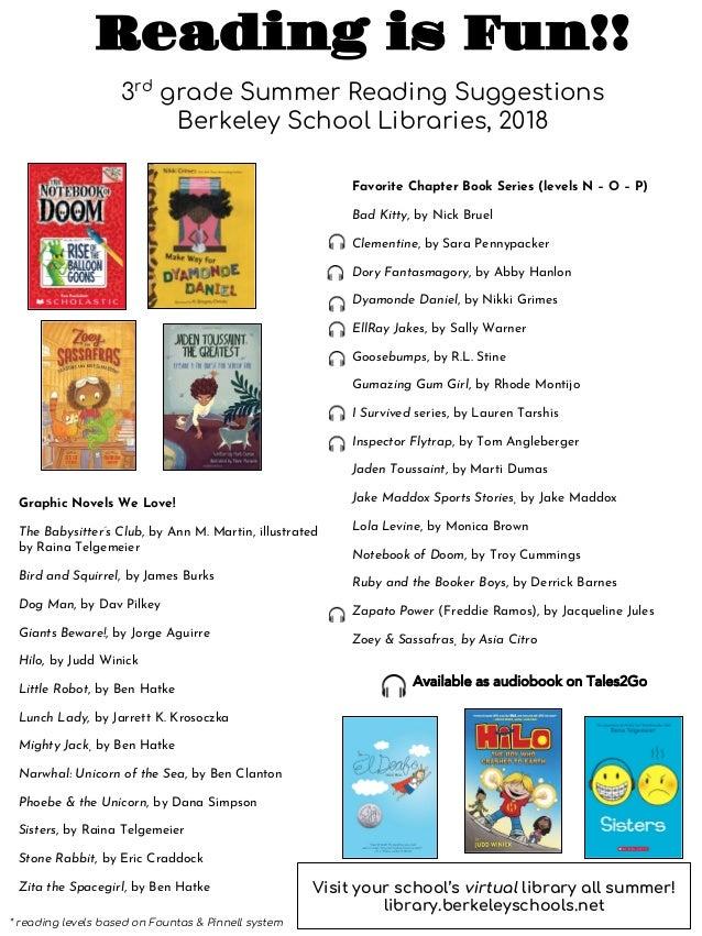 2018 Summer Reading For 3rd Grade