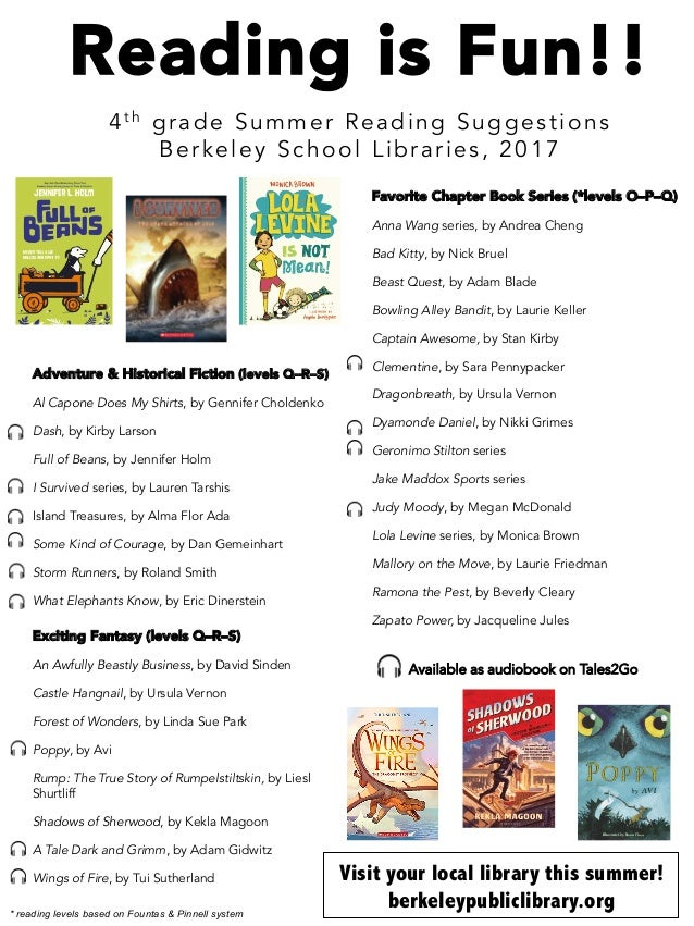 2017 Summer Reading List 4th Grade
