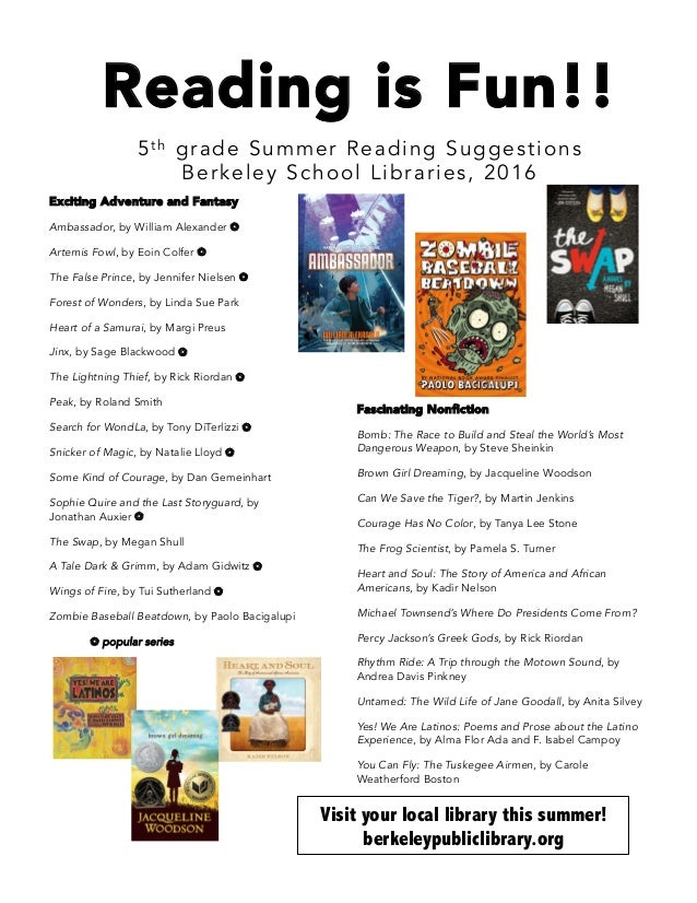 Reading is Fun!! 5t h grade Summer Reading Suggestions Berkeley School Libraries, 2016 Exciting Adventure and Fantasy Amba...