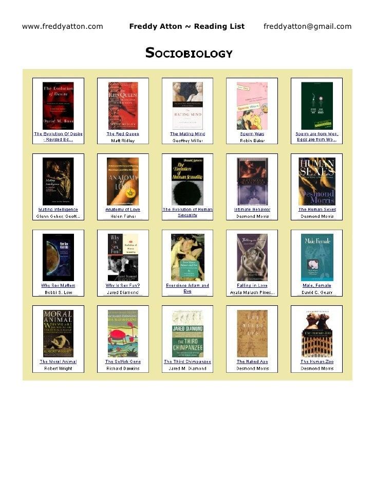 www.freddyatton.com   Freddy Atton ~ Reading List   freddyatton@gmail.com