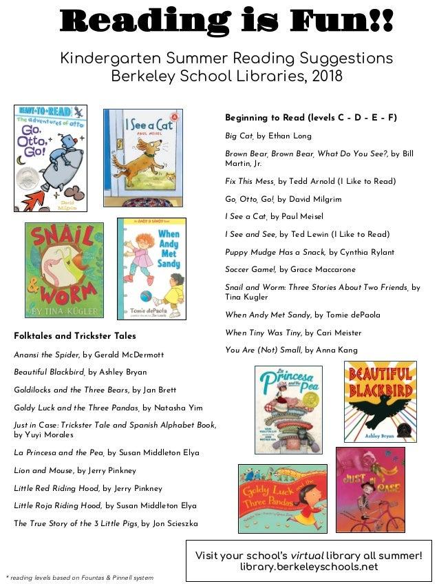 2018 summer reading for kindergarten 1 638 - Kindergarten Reading List