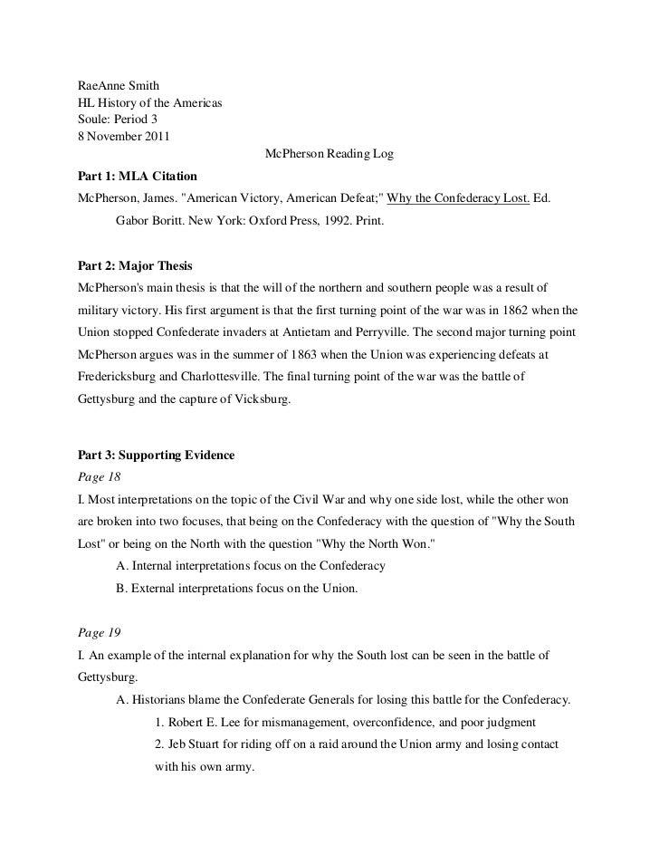 RaeAnne SmithHL History of the AmericasSoule: Period 38 November 2011                                     McPherson Readin...