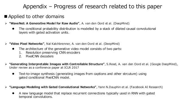 """Appendix – Progress of research related to this paper  Applied to other domains ➢ """"WaveNet: A Generative Model for Raw Au..."""