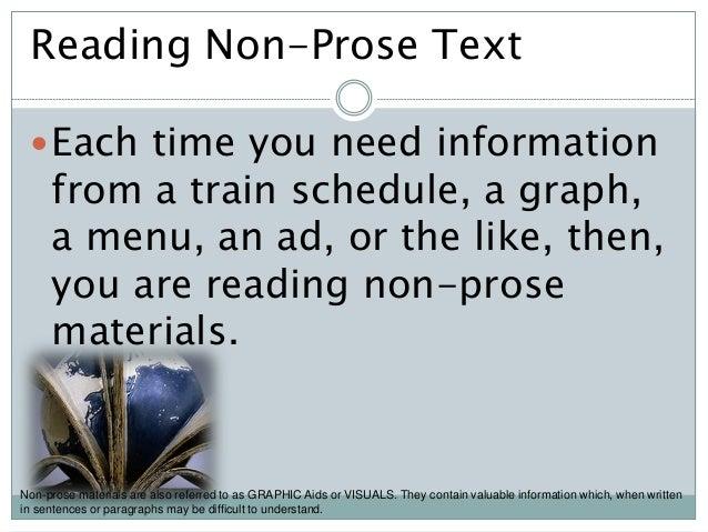Reading non prose texts.