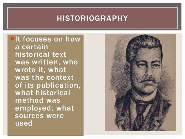 It focuses on how a certain historical text was written, who wrote it, what was the context of its publication, what hist...