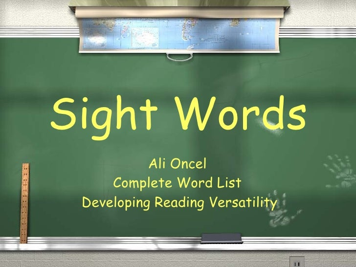 Sight Words Ali Oncel  Complete Word List  Developing Reading Versatility