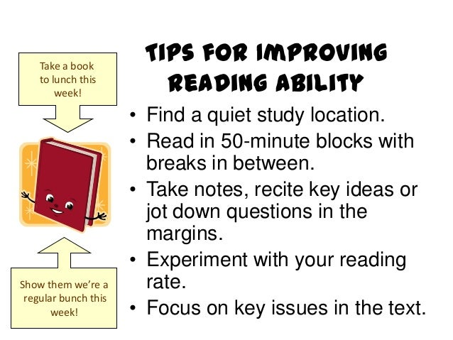 improving reading skills Strategies for improving reading comprehension skills improve your reading comprehension and improve your performance in class, on tests, and in your career.