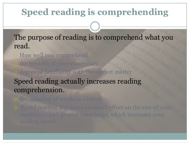 how to speed read and comprehend