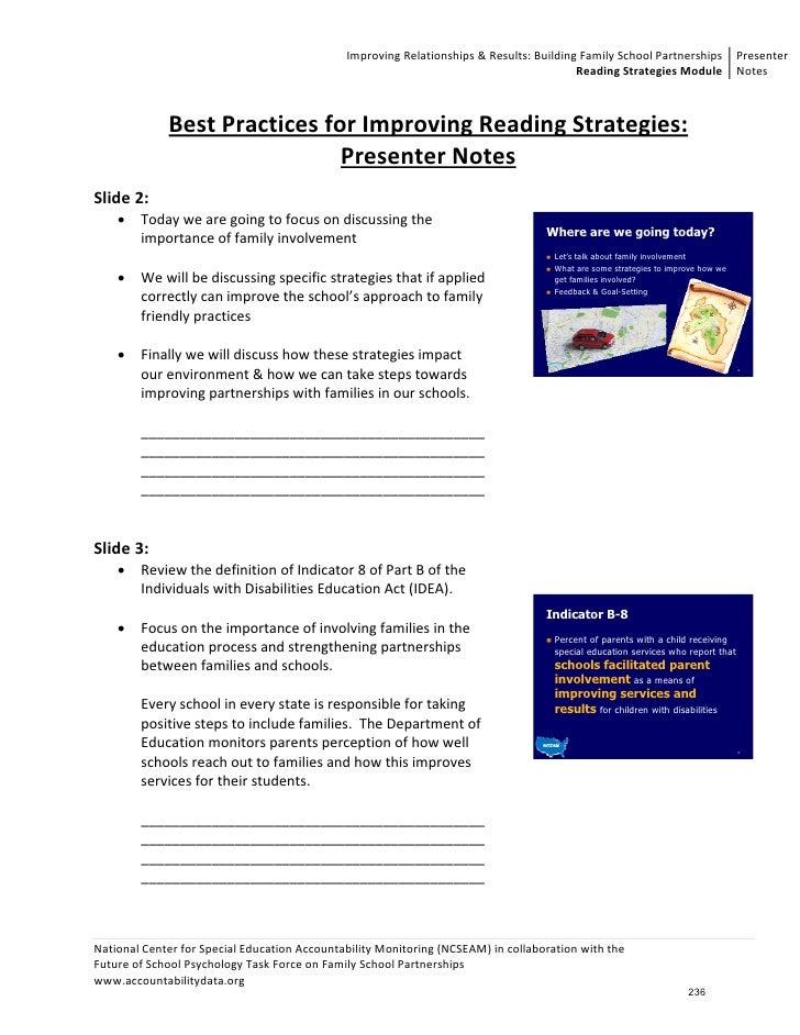 ImprovingRelationships&Results:BuildingFamilySchoolPartnerships Presenter                                         ...