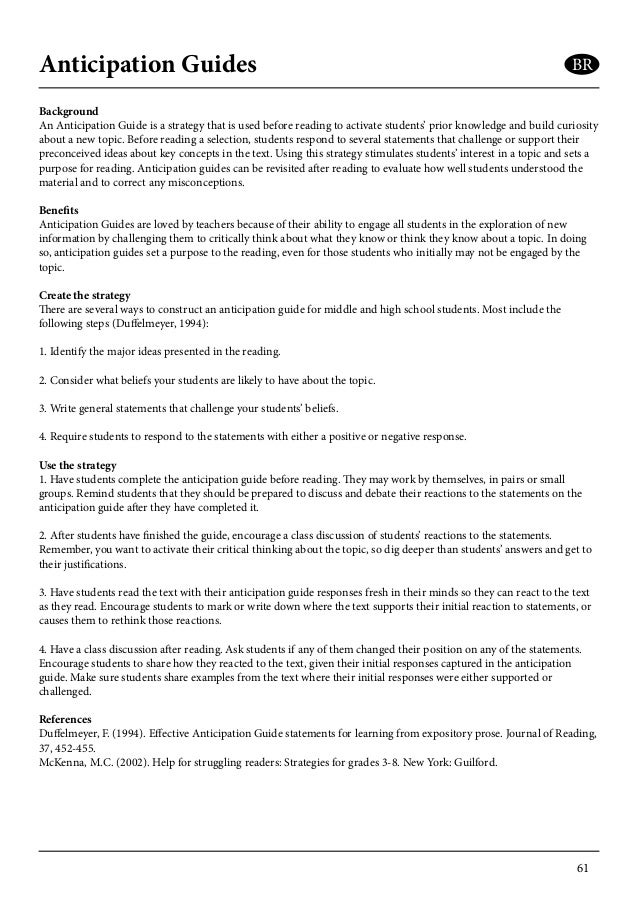 Reading strategies booklet