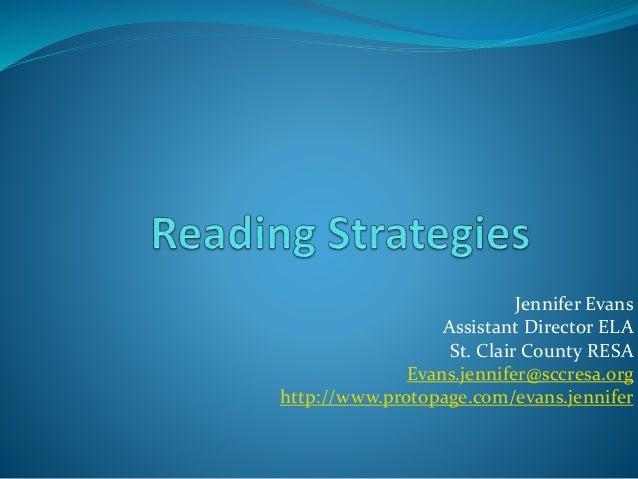 Jennifer Evans  Assistant Director ELA  St. Clair County RESA  Evans.jennifer@sccresa.org  http://www.protopage.com/evans....