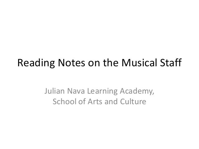 Reading Notes on the Musical Staff Julian Nava Learning Academy, School of Arts and Culture