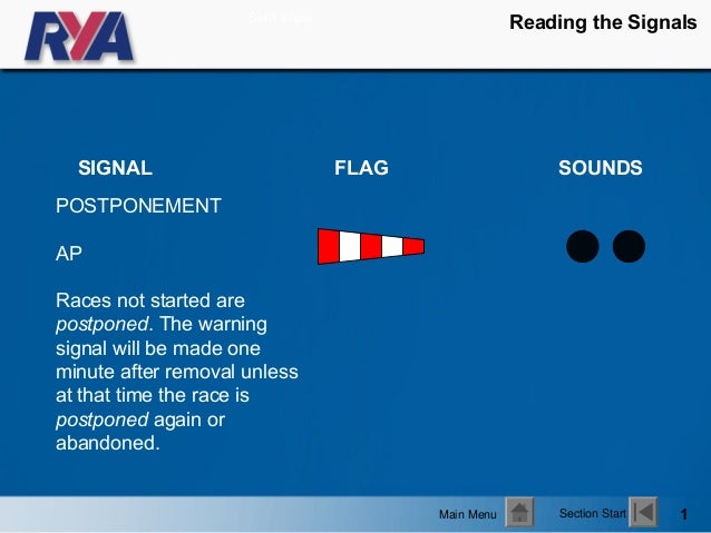 Start show                                                     Reading the Signals  SIGNAL                          FLAG  ...
