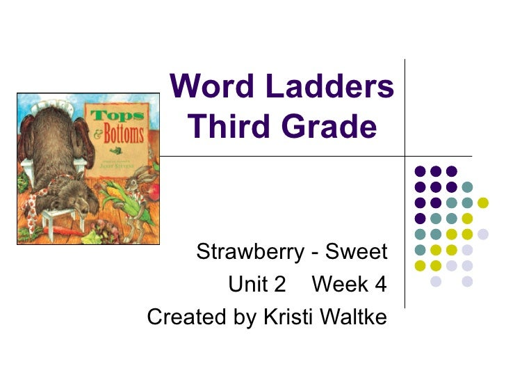 Word Ladders Third Grade Strawberry - Sweet Unit 2  Week 4 Created by Kristi Waltke
