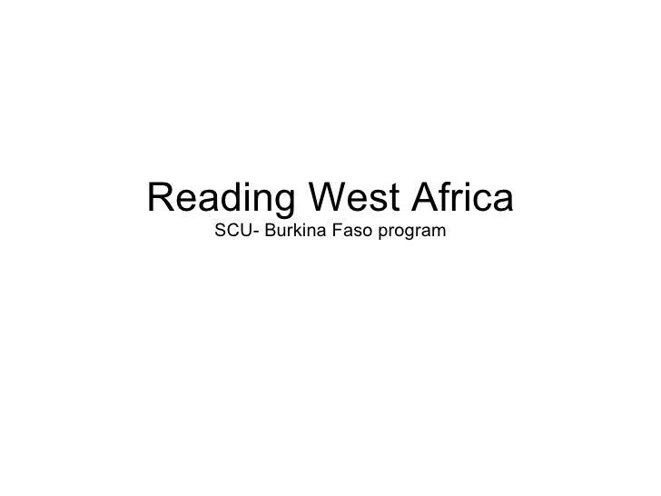 Reading West Africa SCU- Burkina Faso program