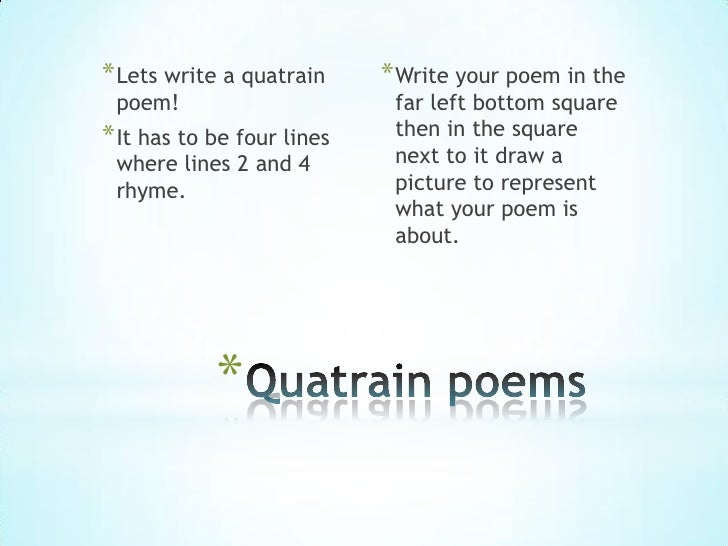 quatrain poems examples - photo #16