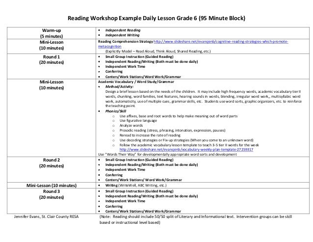 Reading Workshop Example Daily Lesson Grade 6 (95 Minute Block) Warm-up (5 minutes) Independent Reading Independent Writin...