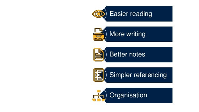Easier reading More writing Better notes Simpler referencing Organisation