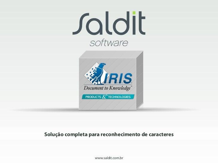 Solução completa para reconhecimento de caracteres                   www.saldit.com.br