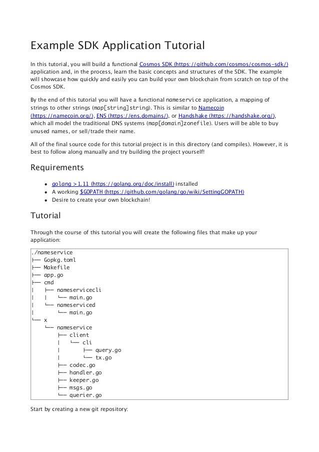 Example Cosmos SDK Application Tutorial