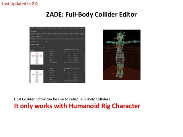 Last Updated in 2.0  ZADE: Full-Body Collider Editor  Unit Collider Editor can be use to setup Full-Body Colliders  It onl...