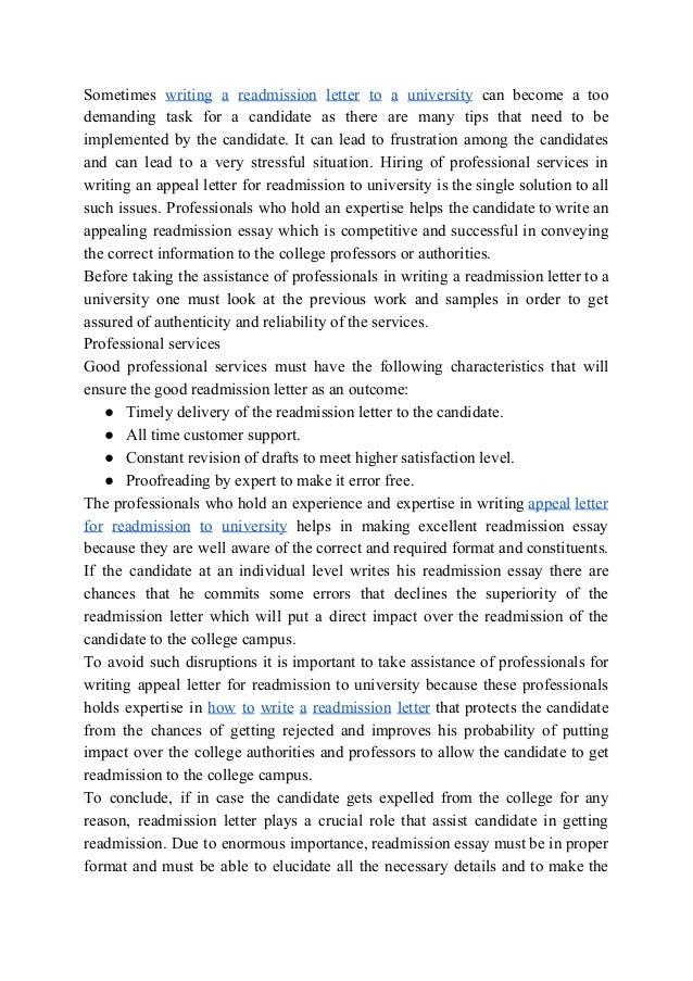 College essay readmission