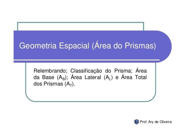 Geometria Espacial (Área do Prismas)   Relembrando; Classificação do Prisma; Área   da Base (AB); Área Lateral (AL) e Área...