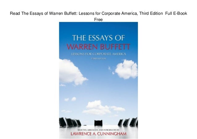 the essays of warren buffett 4th edition lessons for investors and managers ebook Fourth edition warren e buffett buy amazon of the essays of warren buffett: lessons for corporate one of the world's most successful investors.
