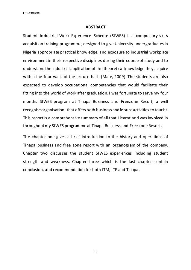 Sample Of Siwes Report