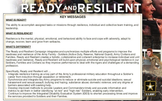 WHAT IS READY? The ability to accomplish assigned tasks or missions through resilience, individual and collective team tra...