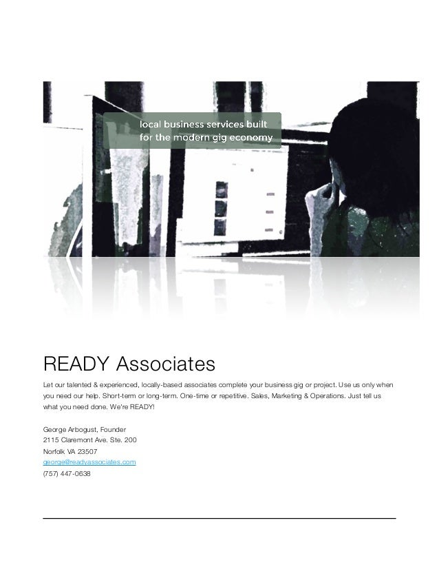 READY Associates Let our talented & experienced, locally-based associates complete your business gig or project. Use us on...