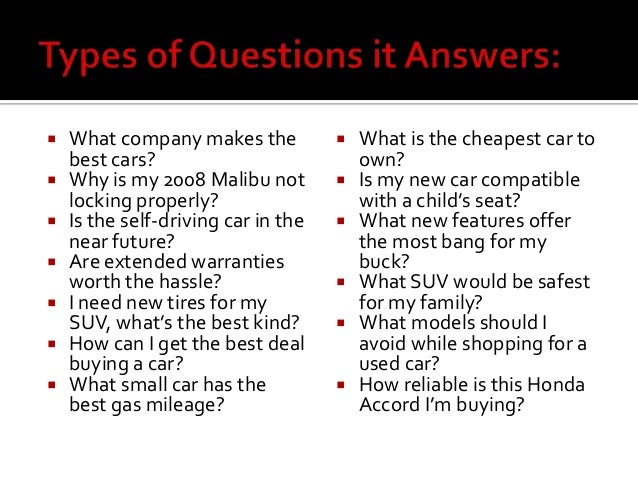  What company makes the best cars?  Why is my 2008 Malibu not locking properly?  Is the self-driving car in the near fu...