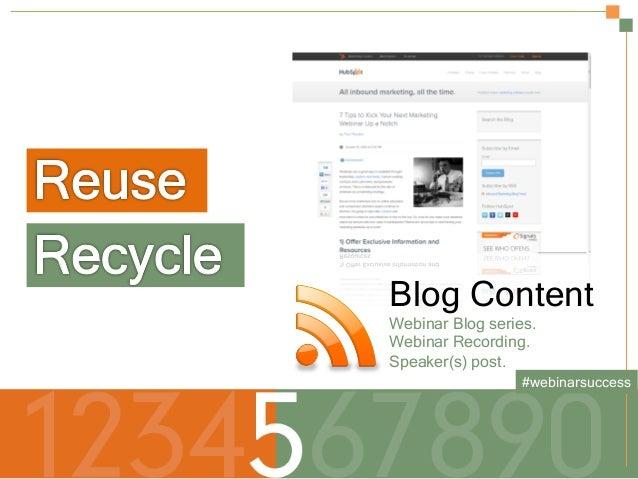 Secrets to a Successful Webinar | HubSpot and ReadyTalk Slide 15
